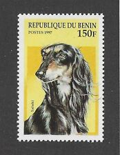 Dog Art Head Study Portrait Postage Stamp Black & Tan Silver Saluki Benin Mnh
