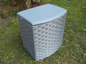Wäschetruhe, Wäschekorb, Sitztruhe mit Polster, grau, in zwei Größen wählbar