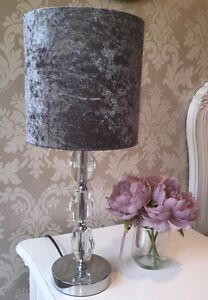 Lampshade In A Crushed Velvet Effect Dark Silver/Steel Grey Fabric 20cm Stunning
