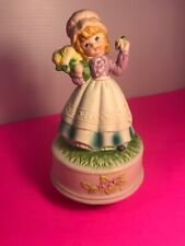 Vintage Girl Figurine ~ Musical ~ Yellow Roses