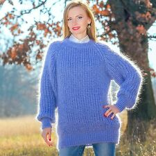 Fashion hand knitted wool sweater mohair ribbed light blue pullover SUPERTANYA