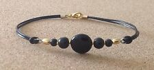 BLACK ONYX Coin+Round Bead, Leather Cord, Gold Tone Plated, Friendship Bracelet