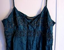 DARK FOREST GREEN HAND BEADED WOMENS COCKTAIL DRESS W/TAGS SZ: 14 USA 16 UK MINT