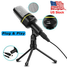 3.5mm Microphone With Stand Tripod Desktop Audio Recording For Pc/Computer/Phone