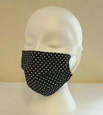 Face Mask Pleated Black Polka Dot (single) Reusable, Washable, Dual Layered.