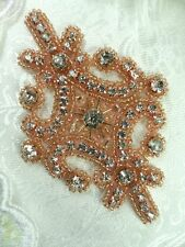 """Rose Gold Applique Beaded Crystal Rhinestone Iron On Patch 4"""" (XR5-rsglcr)"""