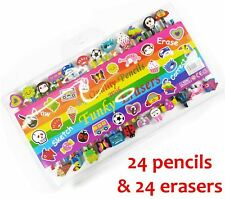 Children Kids 24 Quality Funky Pencils with Funky Erasers Animal Stationary Set