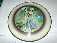 Vintage Flue Cover Courting Couple Glass Metal Frame