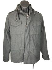 Men's Obey Propaganda Long Sleeve Zip Charcoal Gray Coat With Hoodie Sz Small