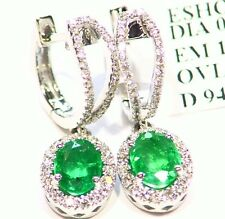 1.66CT 14K Gold Natural Cut White Diamond Emerald Vintage Drop Dangle Earrings