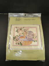 """Vintage 1989 Something Special """"Kittens in Basket"""" Cats Needlepoint Kit 30609"""