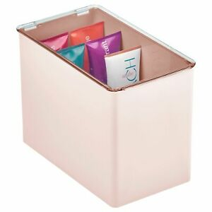 mDesign Tall Plastic Bathroom Stackable Storage Container Box - Clear/Pink