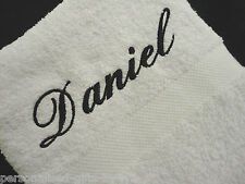 PERSONALISED HAND TOWEL 50cm x 90cm any name can be embroidered in any colour