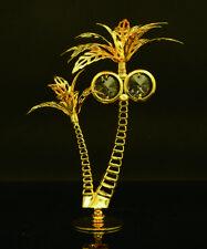 Swarovski Crystal Element Studded Palm Tree Figurine 24K Real Gold Plated