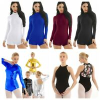 Women Long Sleeve Ballet Dance Gymnastic Bodysuit Adult Dancewear Shorts Leotard