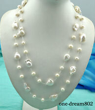 "54"" 26mm baroque white reborn keshi 10mm round pearl necklace"