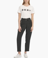 NWT DKNY Women's Cargo Belted Zipped-Front Pants Trousers Casual Black sz 8  $89