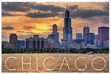 Skyline of Chicago Illinois, Willis Tower Lake Michigan Sunset - Modern Postcard
