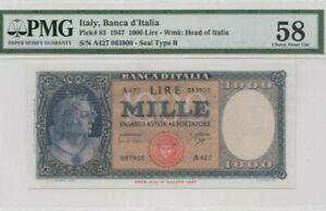 1947 ITALY 1000 lire PMG58 Almost UNC @ P-83