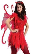 Ladies Red Devil Fairy Temptress Halloween Horror Fancy Dress & Wings Size 10-14