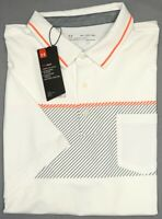 NEW $70 Under Armour Heat Gear Short Sleeve White Shirt Loose Fit Mens Polo NWT