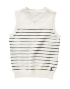 GYMBOREE PICNIC PARTY IVORY N GRAY STRIPED SWEATER VEST 4 5 6 10 12 NWT
