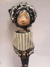 Ooak Elaine Lim Black African American Doll Puppet Papier Mache Fabric Beaded