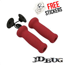 JD Bug Foam Scooter Hand Grips / Handle Bar Grips, Red
