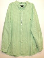 Polo Ralph Lauren Big and Tall Mens Green Gingham Button-Front Shirt NWT 4XLT