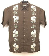 BATIK BAY Mens Palm Tree Aloha Shirt Hawaiian Brown Cocktail Resort Lounge M