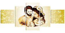 Quadro moderno capezzale Madonna sacra famiglia gesù 80x180 stelle canvas tela