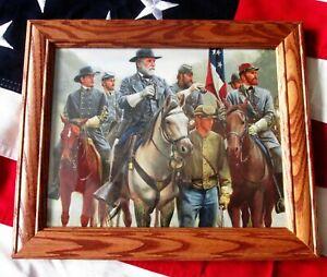 Civil War Painting Print. Manassas, Gettysburg, Robert E Lee and Staff