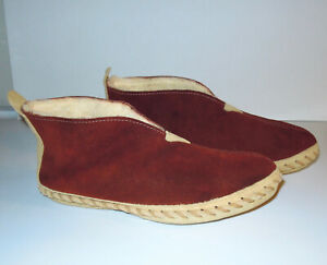 Leather Moccasin Vintage Stitched Fuzzy Lined Rigid Soles Genuine Leather Size 8