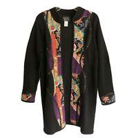 Vtg 80's Koos Of Course Knit Sweater Size M Black Floral Details Patchwork