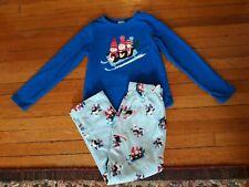 Children's LANDS END Blue  FLEECE 2 piece Penguin PAJAMAS Size M (10-12)
