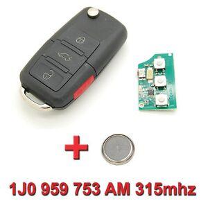 Clé avec électronique vierge Volkswagen Polo Passat Golf 1J0 959 753 AM 315mhz