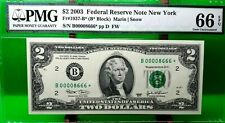 $2 DOLLARS 2003 STAR NOTE NEW YORK  F 1937 B * LUCKY MONEY VALUE $666