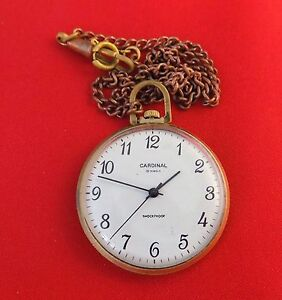 RARE Pocket watch Gold plated Raketa Cardinal Luxury Soviet Russian shockproof