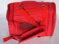 """Collapsible RED Nylon Zip Up Small Dog/Cat Carrier 17""""x13""""x9.5"""" w/ Windows"""