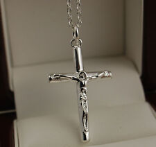 "925 Stamped Silver Crucifix Cross Pendant 18"" Necklace Chain- New -UK 66"
