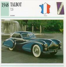 1948 TALBOT T26 Classic Car Photograph / Information Maxi Card