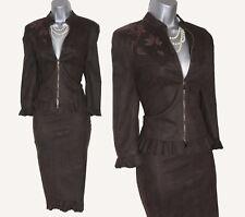 Karen Millen Dark Brown Faux Suede Embroidered Jacket & Pencil Skirt SUIT UK 12
