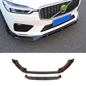 Fit For Volvo XC60 2018-2021 Carbon Fiber Front Bumper Lip Spoiler Splitter Trim