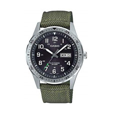 Casio Men's Stainless Steel Quartz Cloth Strap, Green, 22 Casual Watch (Model: M