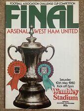 WEST HAM UNITED v ARSENAL 1980 FA CUP FINAL FOOTBALL PROGRAMME Wembley Stadium