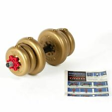 York Adjustable Spinlock Dumbbell 10kg Gold Vinyl Gym Strength Weightlifting Set