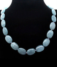New Natural 13x18mm Oval Aquamarine Beads Gemstone Necklace 18 ""