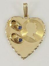 Vintage Solid 14kt Gold & Genuine Sapphire Baby Boy Shoe Heart Pendant, 3gr