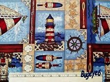 NAUTICAL Fabric LIGHTHOUSE Buoy Leslie Beck SAILBOAT Ocean Starfish Cotton - BTY