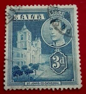 Malta:1943 King George VI and Local Motifs 3 P. Rare & Collectible Stamp.